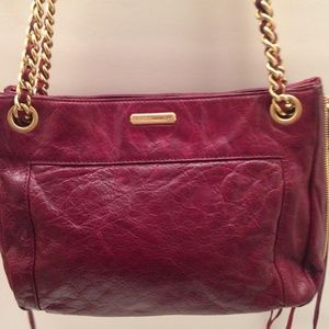 REBECCA MINKOFF BURGANDY WEATHERED HOBO SHOULDER